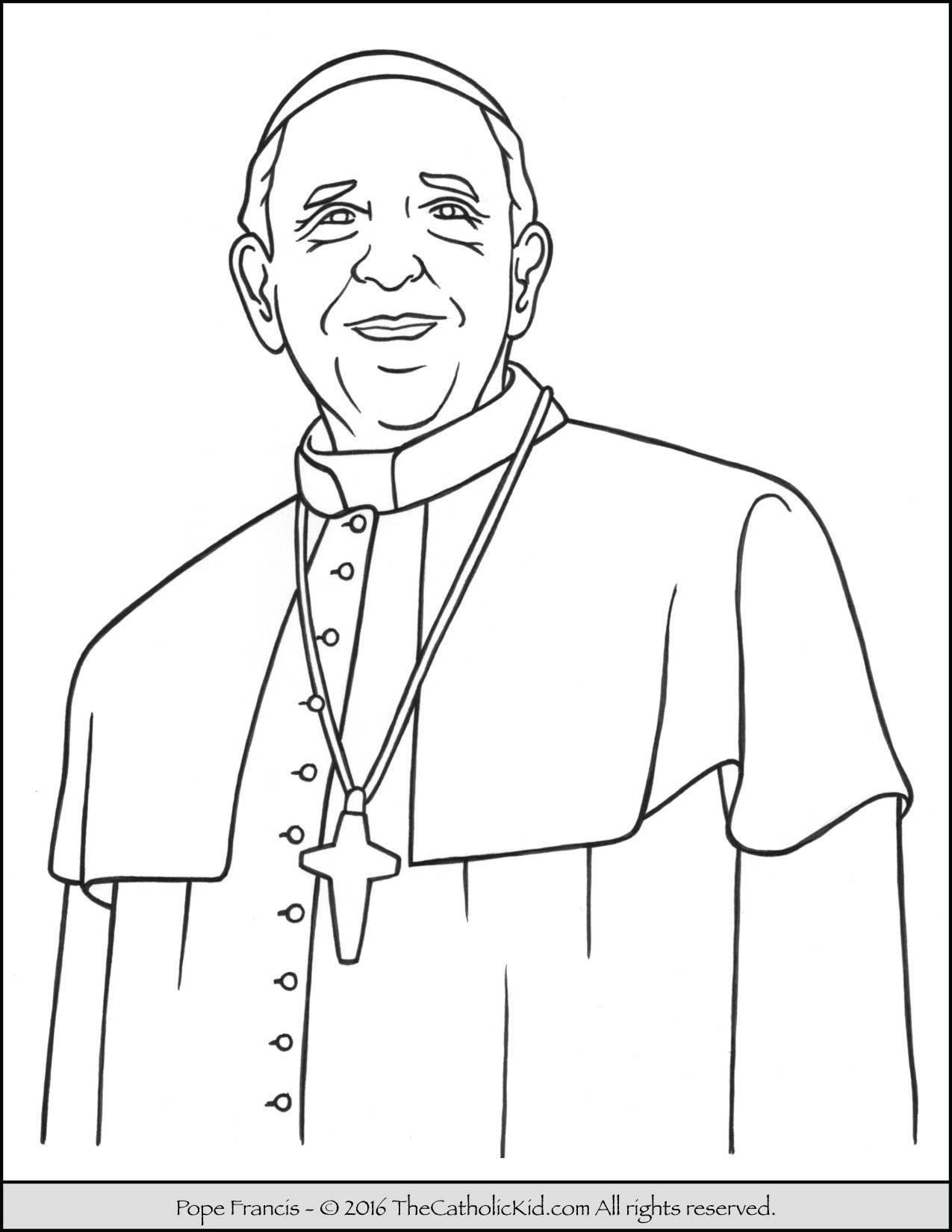 Pope Francis Coloring Page Thecatholickid Com Catholic