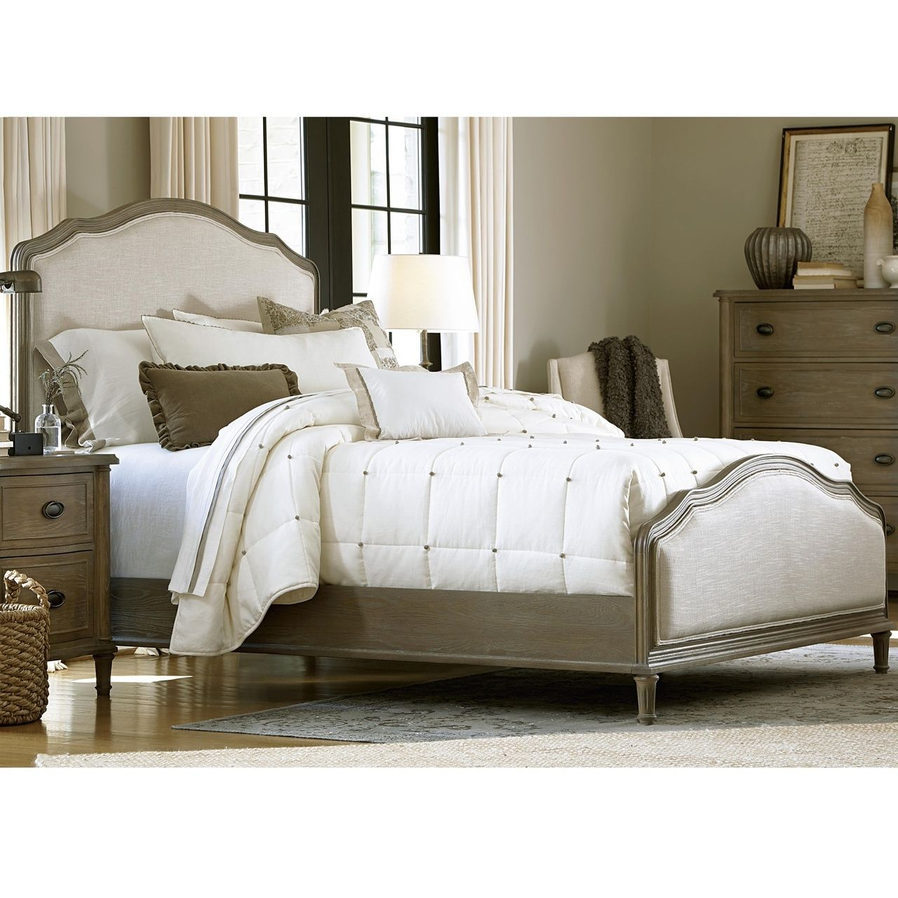 French Country Oak 6 Piece Queen Bedroom Set Panel Bed Frames
