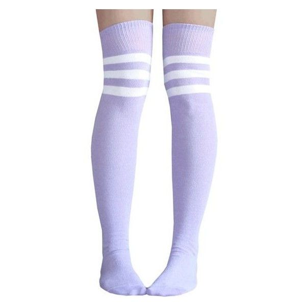 076a476bb913a Light Purple Thigh Highs ❤ liked on Polyvore featuring intimates, hosiery,  socks, above the knee socks, thigh high hosiery, above knee socks, stripe  socks ...