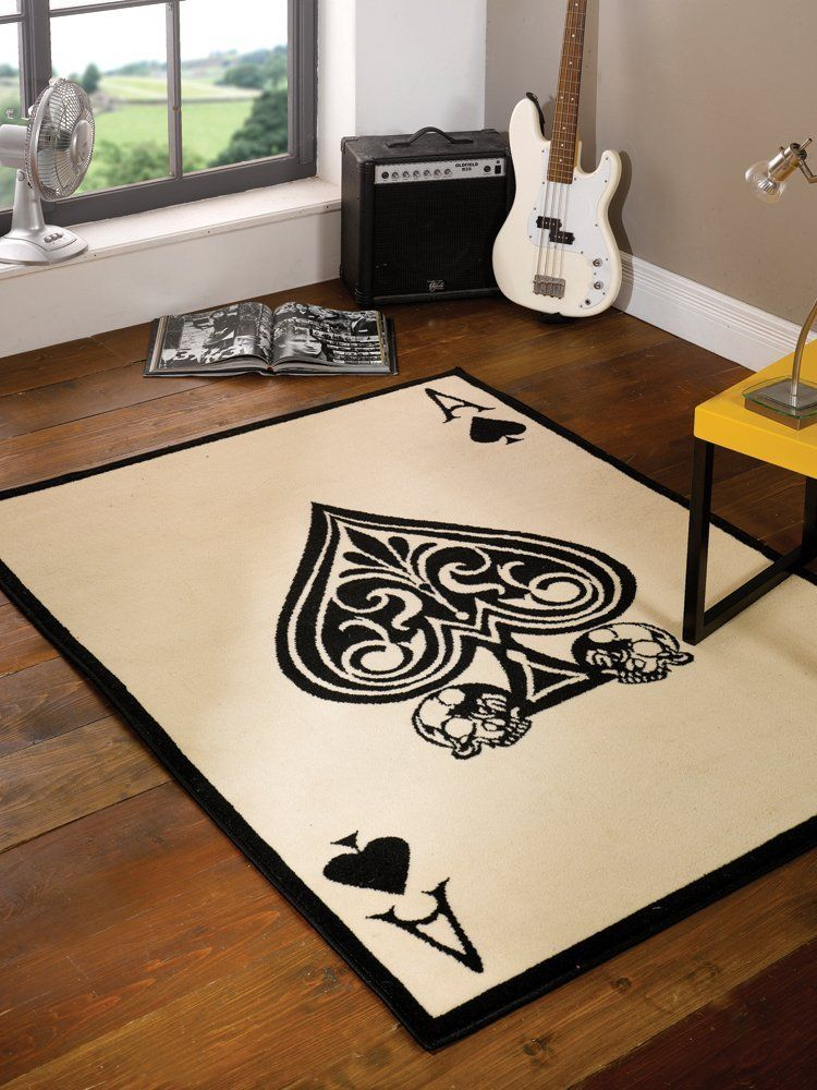 Large Modern Ace of Spades Skull Design Black White Rug in 120 x .