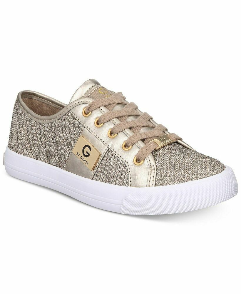 6955abaa NEW Women's G by Guess Gold Glitter Lace Up Quilted Fabric Sneakers Shoes  10 #GbyGuess #FashionSneakers