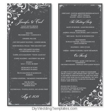 Wedding Program Template Chic Bouquet By Diyweddingtemplates 8 00 Wedding Programs Template Wedding Programs Program Template