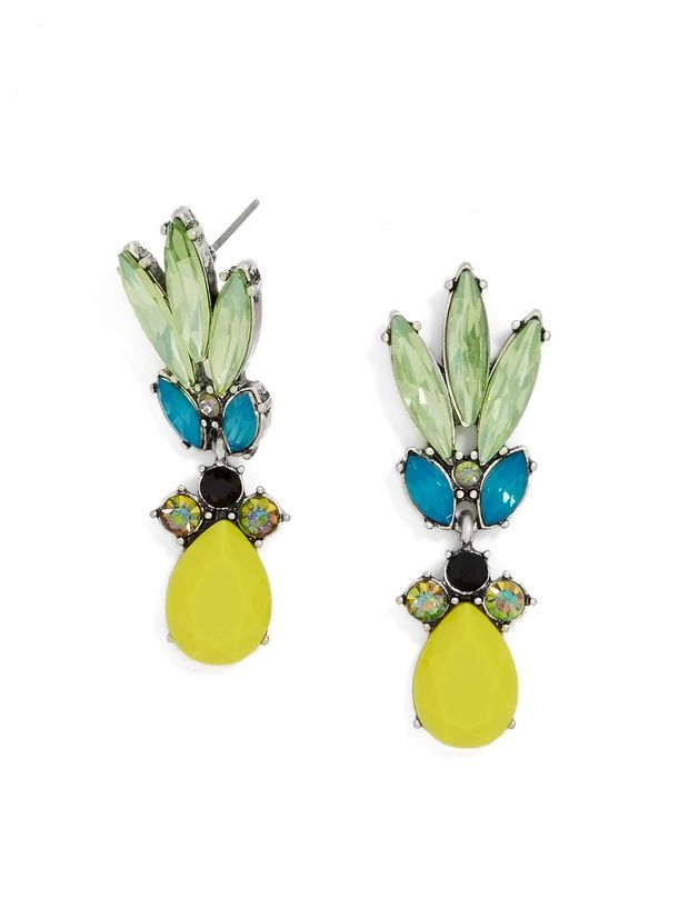 Channel the tropics in these whimsical, color-clad drops. Style with a flowery sundress or bright colors.