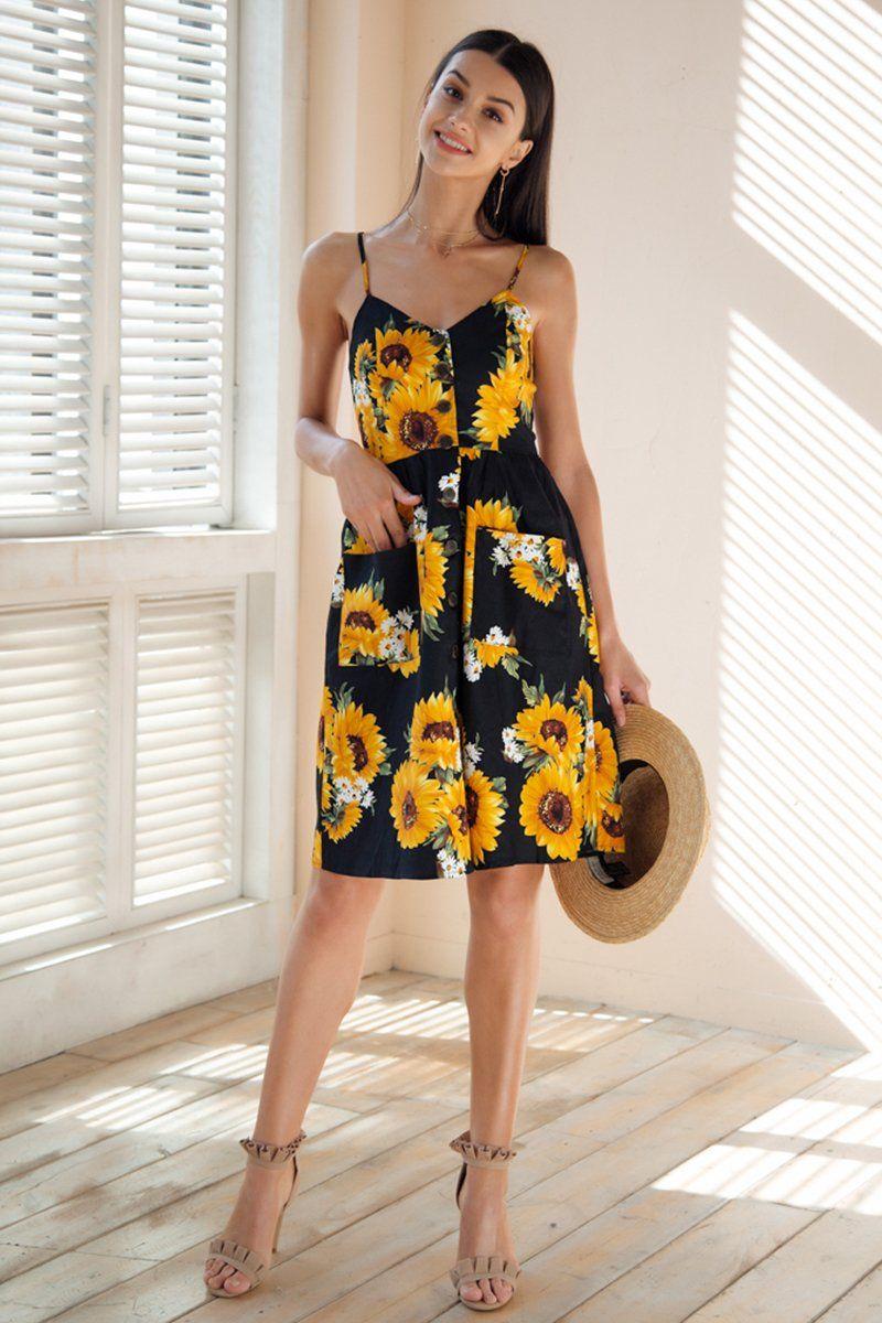 4b55ec07ba Strap v neck summer dress women Sunflower print backless party dress Casual  vestidos high waist midi dress female 2018 Dresses Length  Knee-Length  Neckline  ...