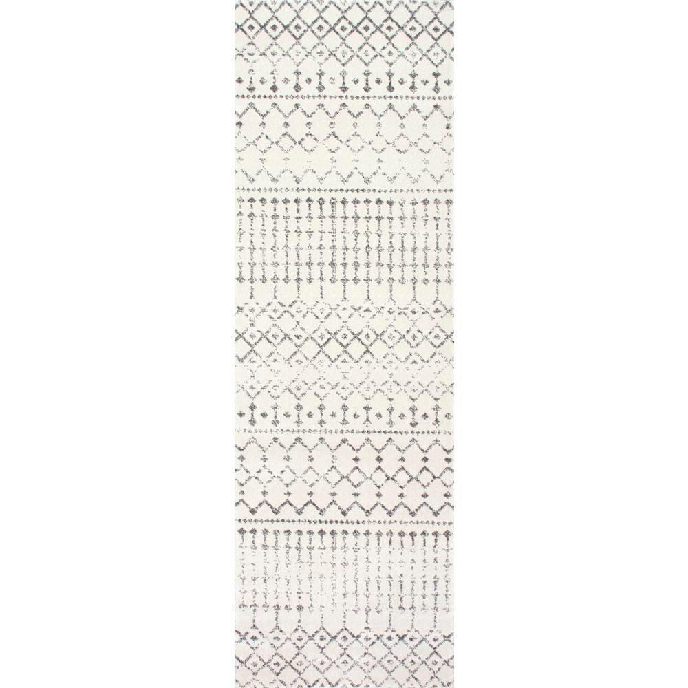 Nuloom Blythe Modern Moroccan Trellis Gray 3 Ft X 12 Ft Runner In 2020 Area Rugs Nuloom Modern Moroccan