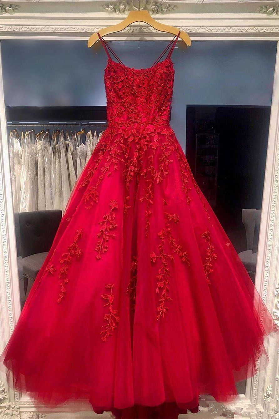 A-line red long prom dress 15 #promdress #promdr in 15  Prom