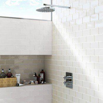 Faience Mur Blanc Bakerstreet L 7 5 X L 15 Cm Leroy Merlin Carrelage Faience Idees Salle De Bain