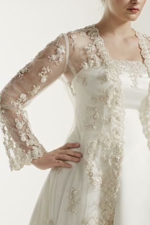 Plus Size Wedding Dress With Long Sleeved Jacket A Line Bridal Gowns Wedding Dresses Trendy Wedding Dresses