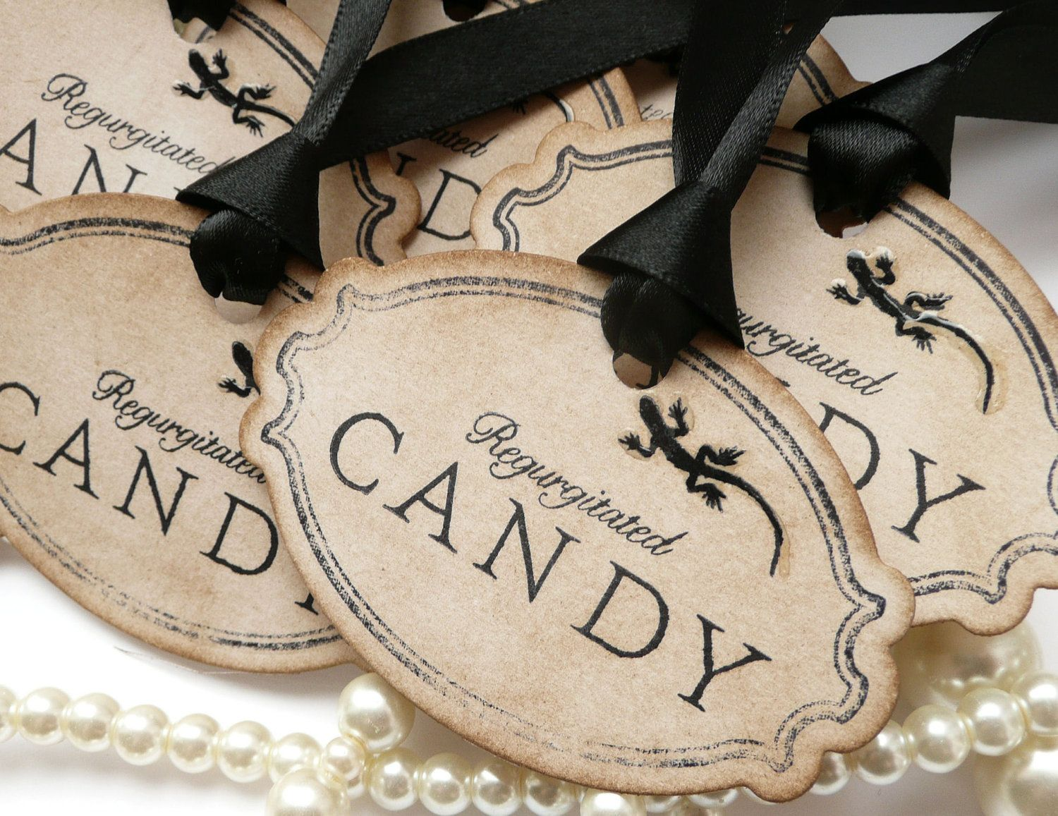 Halloween Tags, Halloween Wedding, Rustic Halloween, Candy Labels - Whimsical Halloween Decorations