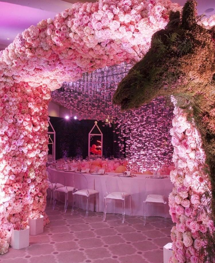 Khloe Kardashian Baby Shower Pink Floral Decor Entrance Floral