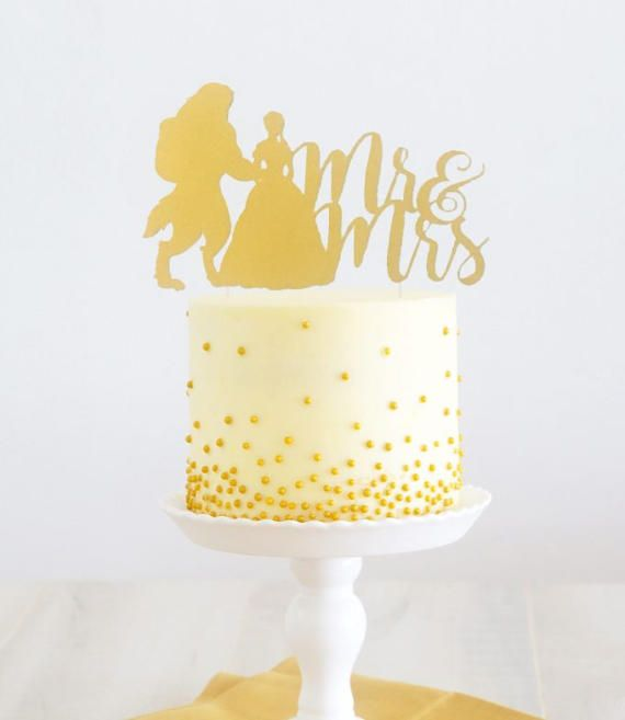 Beauty and the Beast Mr and Mrs Cake Topper, Beauty and the Beast ...