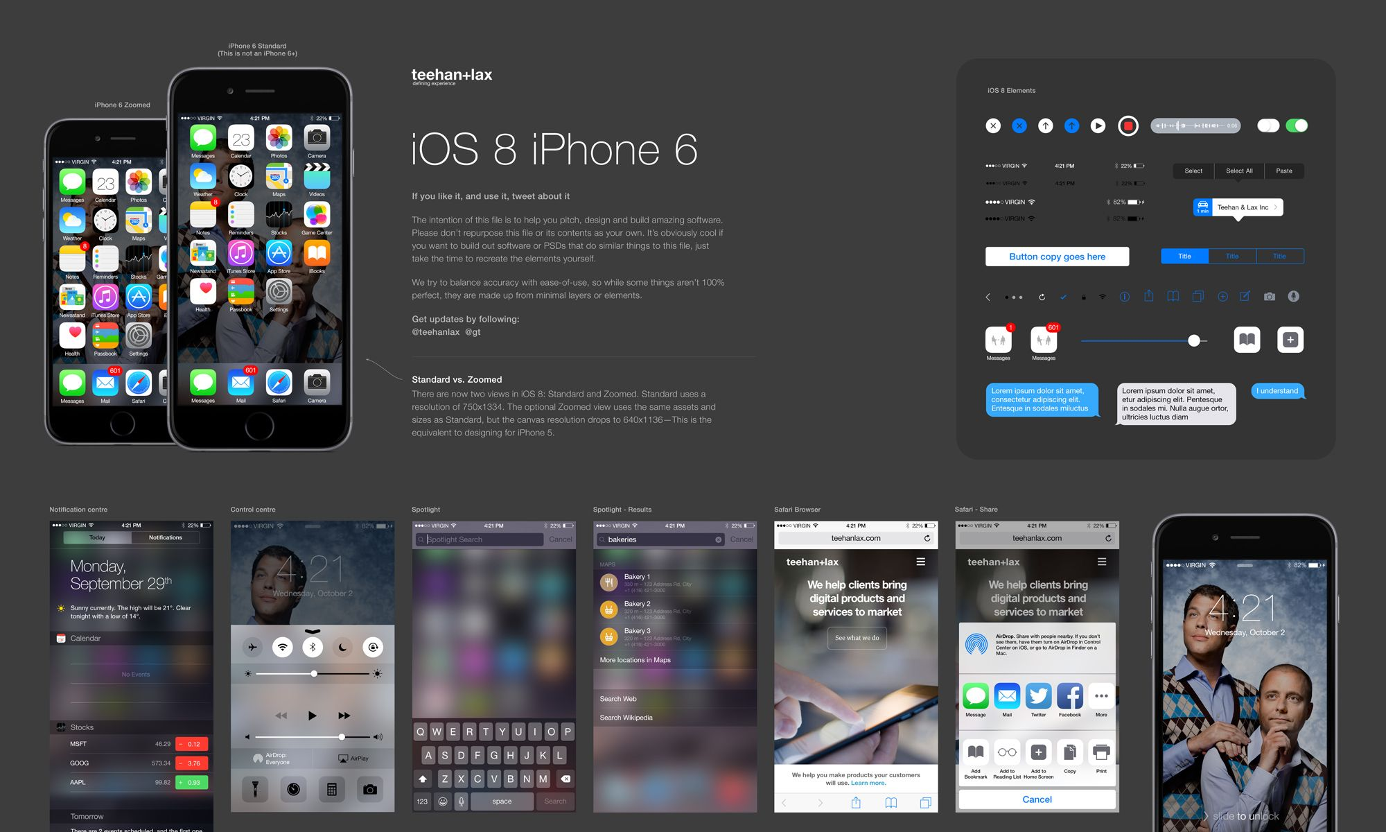 iOS 8 GUI PSD for iPhone 6 | UI/UX Design | Pinterest | Template, Ui ...