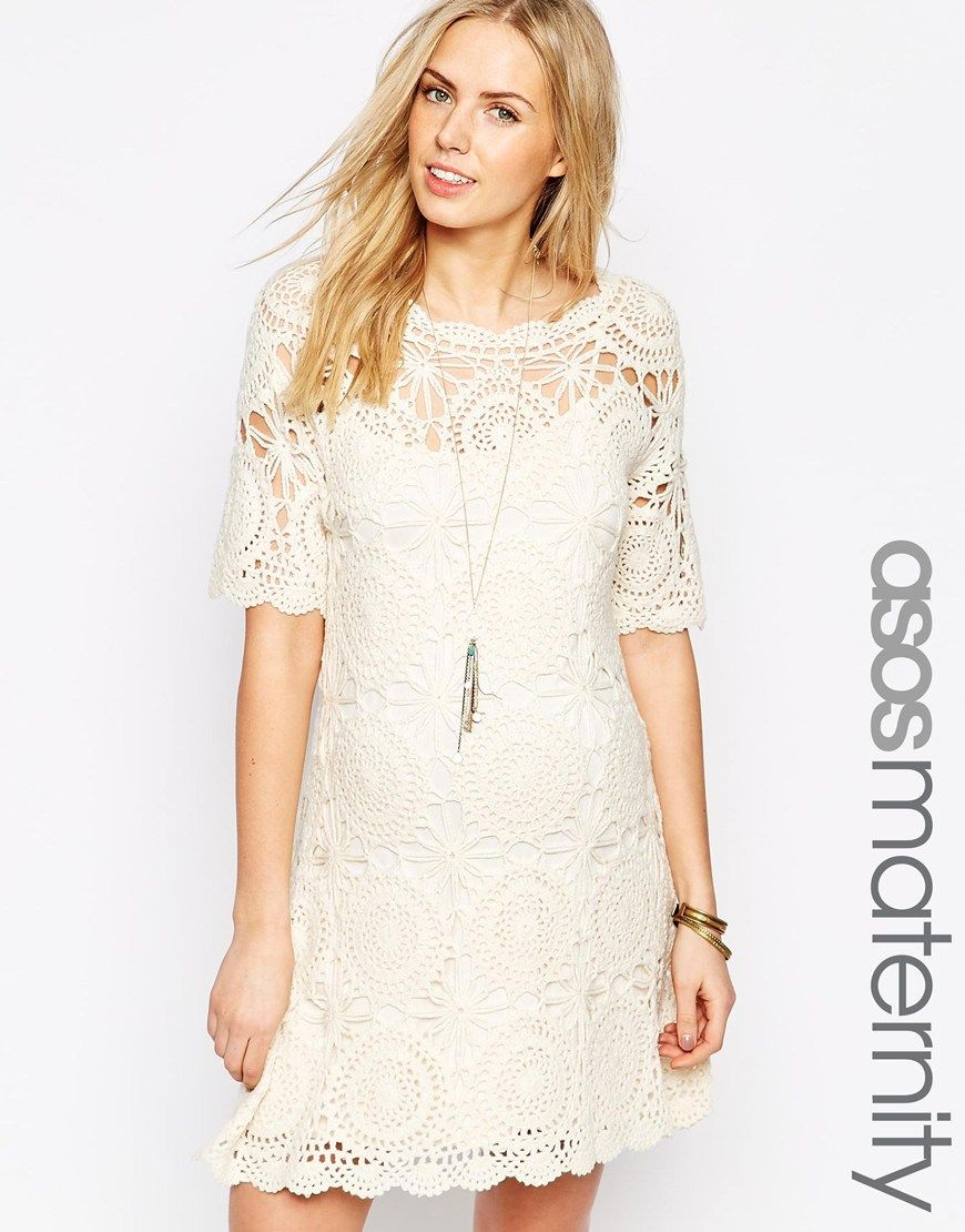 Asos maternity hand crochet tunic dress for gender reveal baby maternity dress by asos maternity lined crochet fabric round neckline regular fit true to size designed to fit through all stages of pregnancy hand wash ombrellifo Choice Image