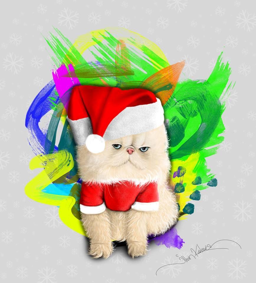 Merry Christmas Cat.Happy New Years. Greeting Print.Animal