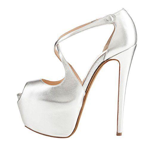 27f13cf5cc9322 Onlymaker Damenschuhe High Heels Peep Toe Glitzer Sandale mit Plateau  Kunstleder Silber EU42 - http
