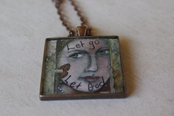 Let Go Resin Art Pendant with free chain by craftygallinda on Etsy, $22.00