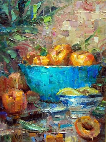 Apricots and Turquoise, painting by artist Julie Ford Oliver
