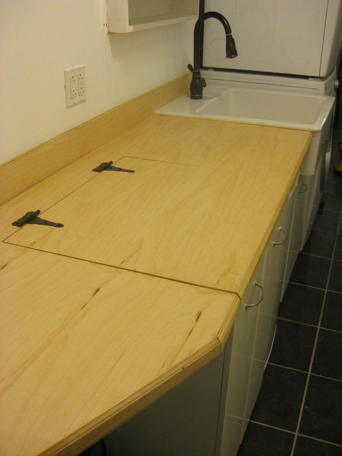 Hinged Countertop For Washer And Dryer Google Search Laundry Room Counter Laundry Room Sink Laundry In Kitchen