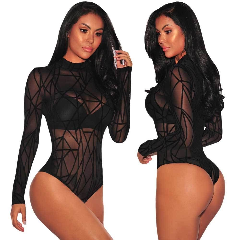 ce86c839313  10.07 - Usa Women Black Turtleneck Long Sleeve Mesh Sheer Jumpsuit Romper  Leotard Tops  ebay  Fashion