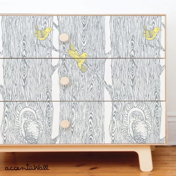 Forest Cool Grey / Yellow Peel & Stick Fabric Wallpaper ...