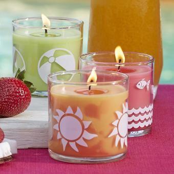 trio de mini bougies en pot parfum es cocktail sur la plage. Black Bedroom Furniture Sets. Home Design Ideas