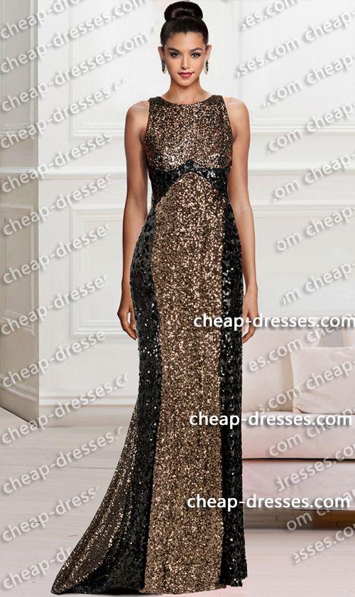 Dramatic Crew Neckline Black Gold Color Block Sequin Dressprom