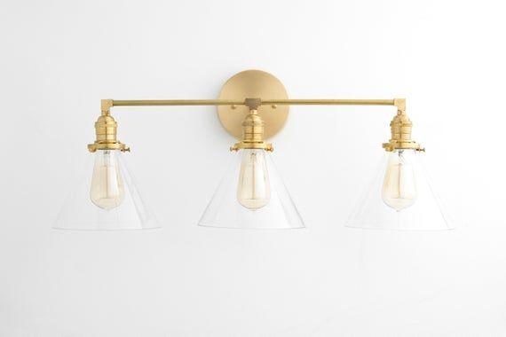 Photo of Bathroom lighting – three-light washstand – mirror light – bathroom light – brass light – mirror light – washstand light – model no. 5219