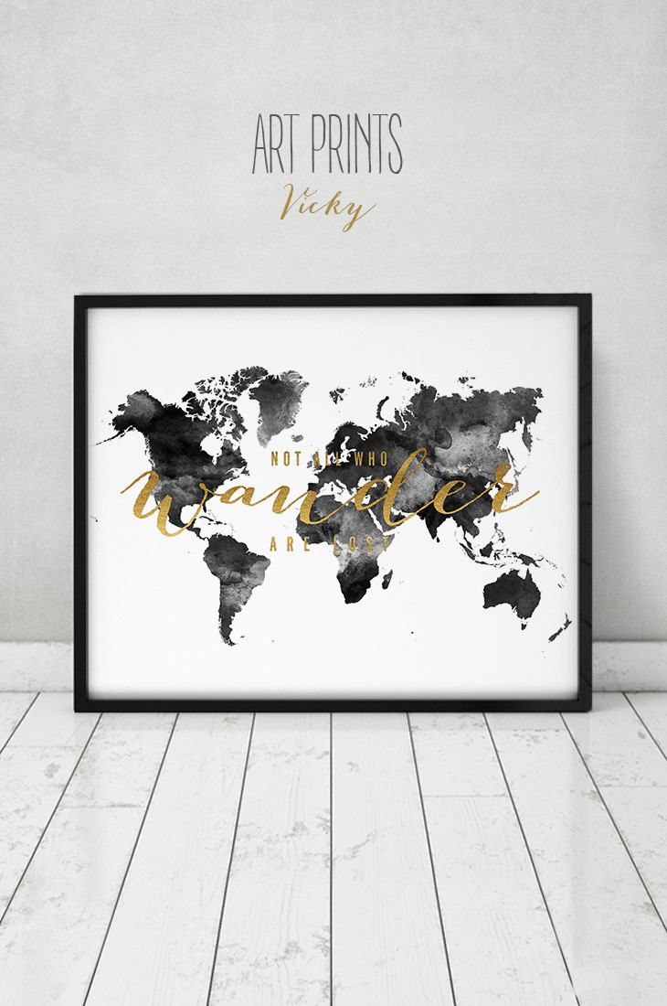 Black and white world map map art print large world map poster world map print large world map poster travel gift not all who wander are lost black white with faux gold text artprintsvicky by artprintsvicky on gumiabroncs Choice Image