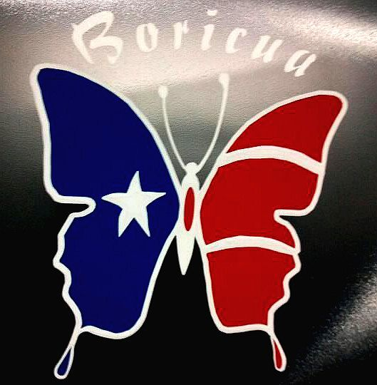 Boricua butterfly decal puerto rican flag colors 4x4 coqui vinyl sticker white red
