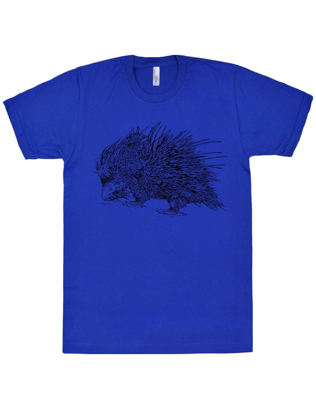 Porcupine T-Shirt. Men / Unisex Fine Jersey Short Sleeve Tee. Black Print