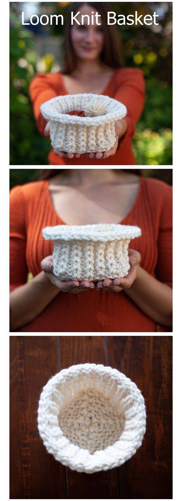 Loom Knit Basket (Free Pattern) #loomknitting
