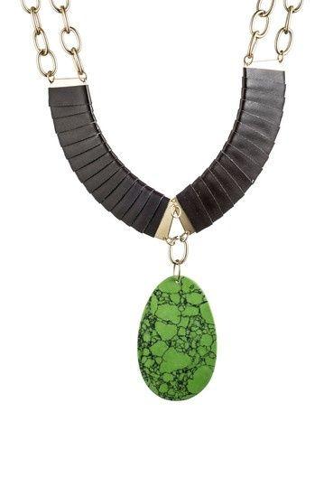 Green Acrylic Pendant Brown Leather & Chain Link | http://awesomewomensjewelry.blogspot.com