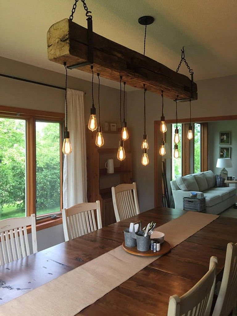 45 Beautiful Rustic Chandelier Decor Ideas For Your Living Room Page 20 Of 48 Rustic Light Fixtures Barn Beam Lighting Farmhouse Dining Room Lighting