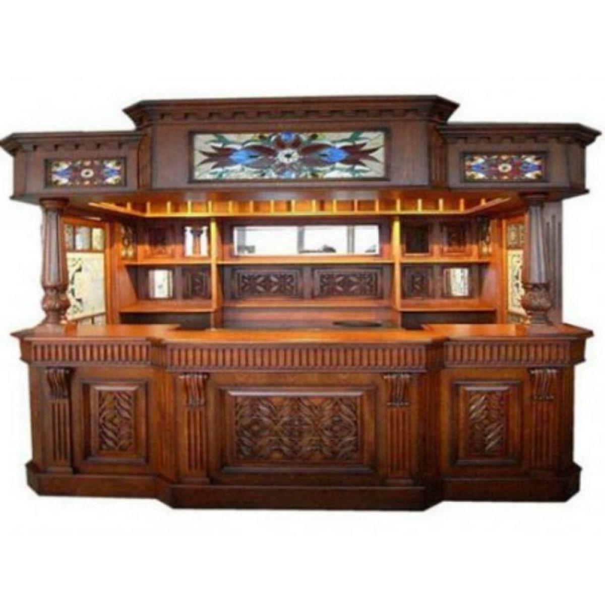 Irish Fitzpatrick Solid Mahogany Tavern Home Pub Ireland Bar With Tiffany Glass Canopy Full