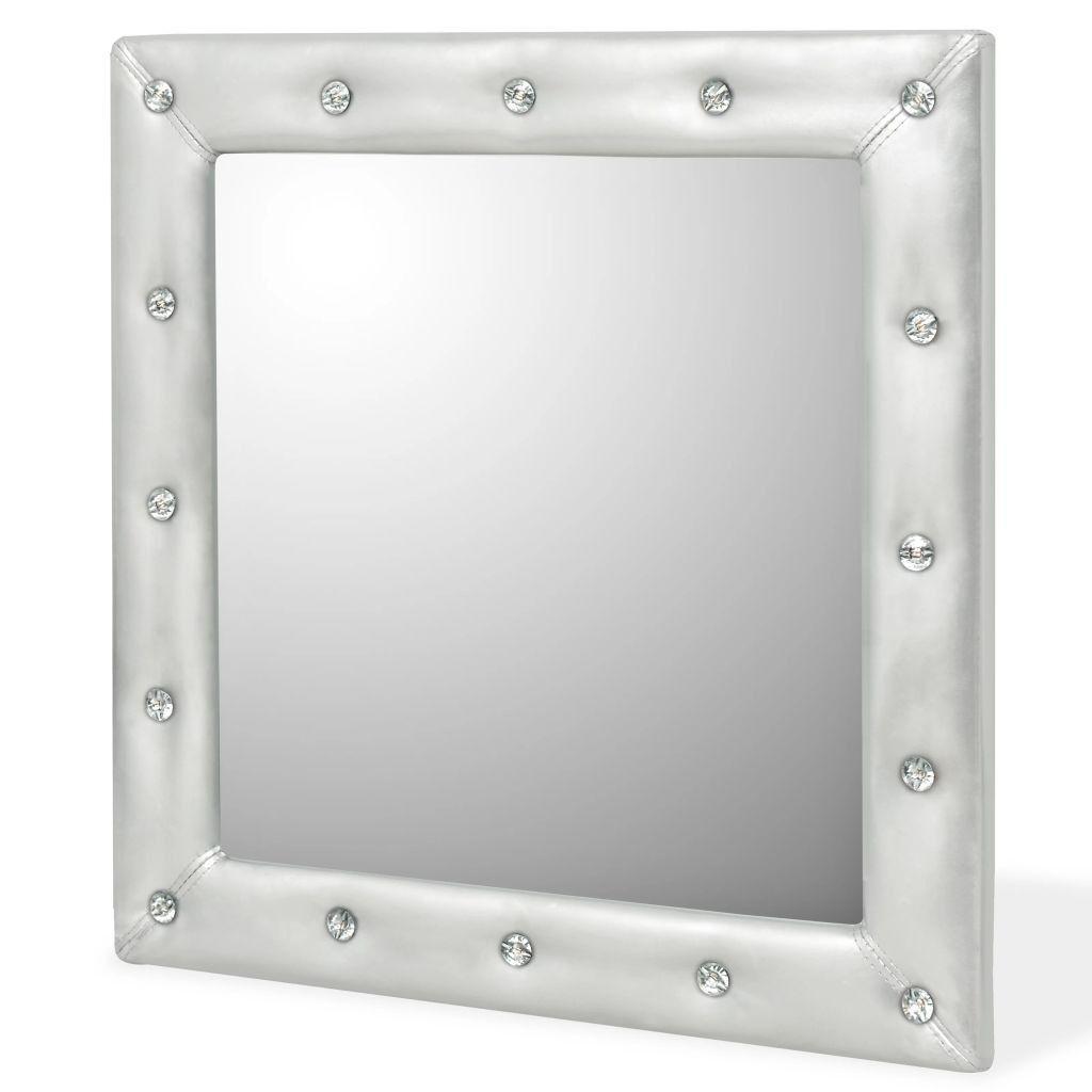Wandspiegel 60x60 Cm Kunstleer Glanzend Zilver Kunstleer Spi