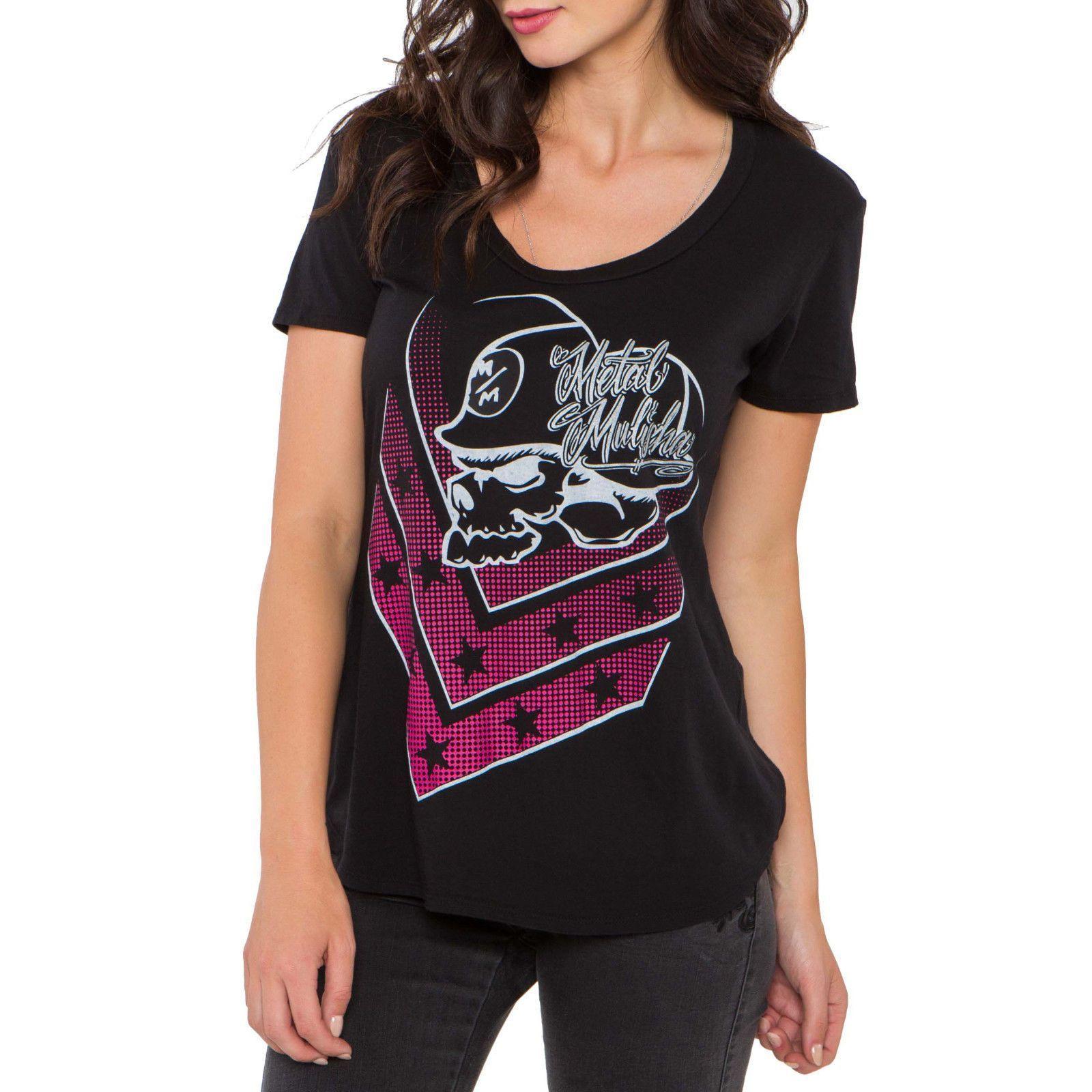 5c063b92 Metal Mulisha Womens Corey Scoop Jet Black Skull Helmet Logo Scoop Neck T- Shirt