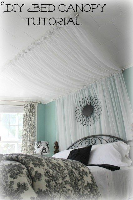 Hang Curtains Overhead From The Ceiling To The Wall And Down To The Floor Canopy Bed Diy Diy Furniture Bedroom Bedroom Diy