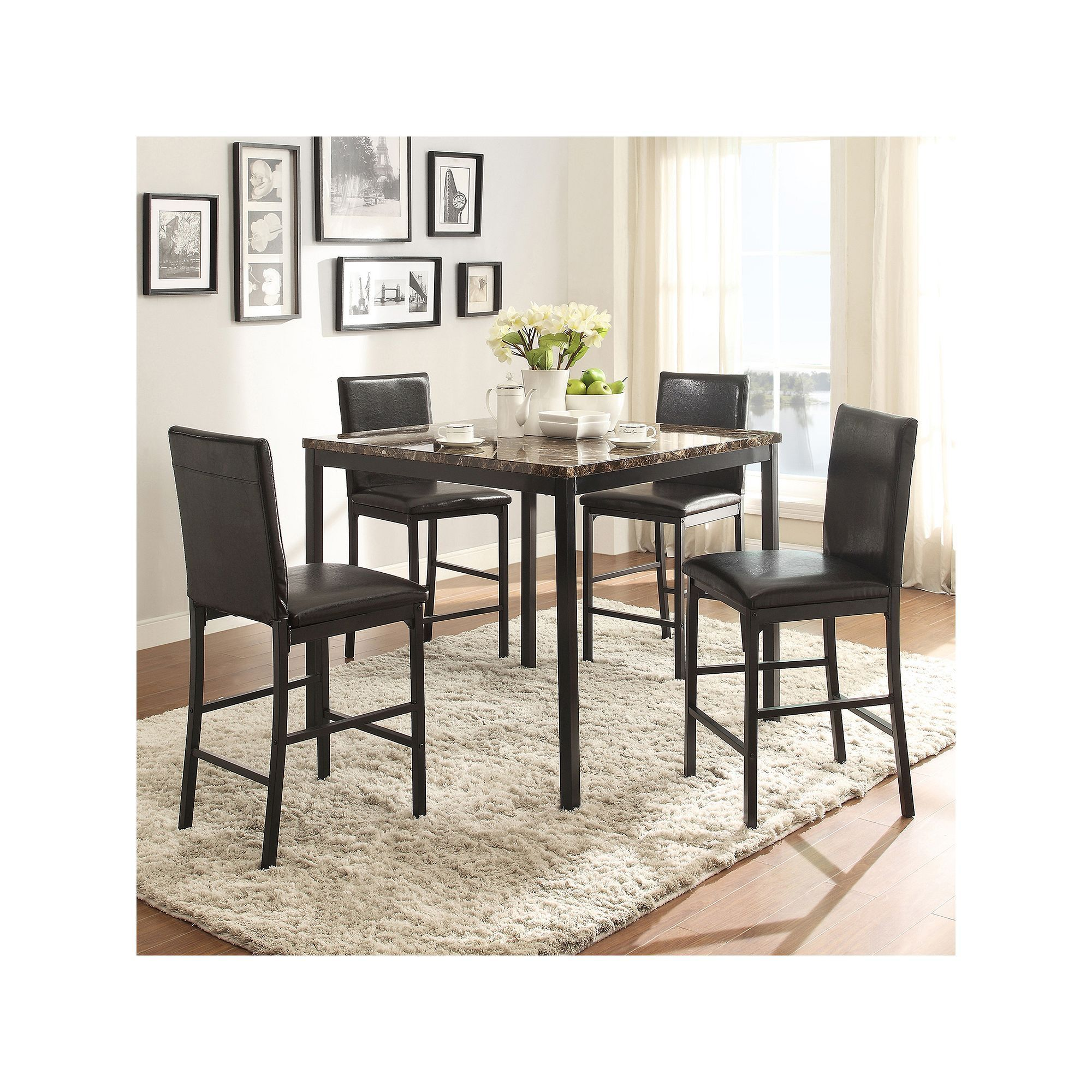 Homevance HomeVance Catania 5-piece Dining Table & Counter Chair Set ...