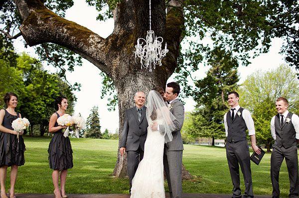 gray bridesmaid dresses groomsmen's vests