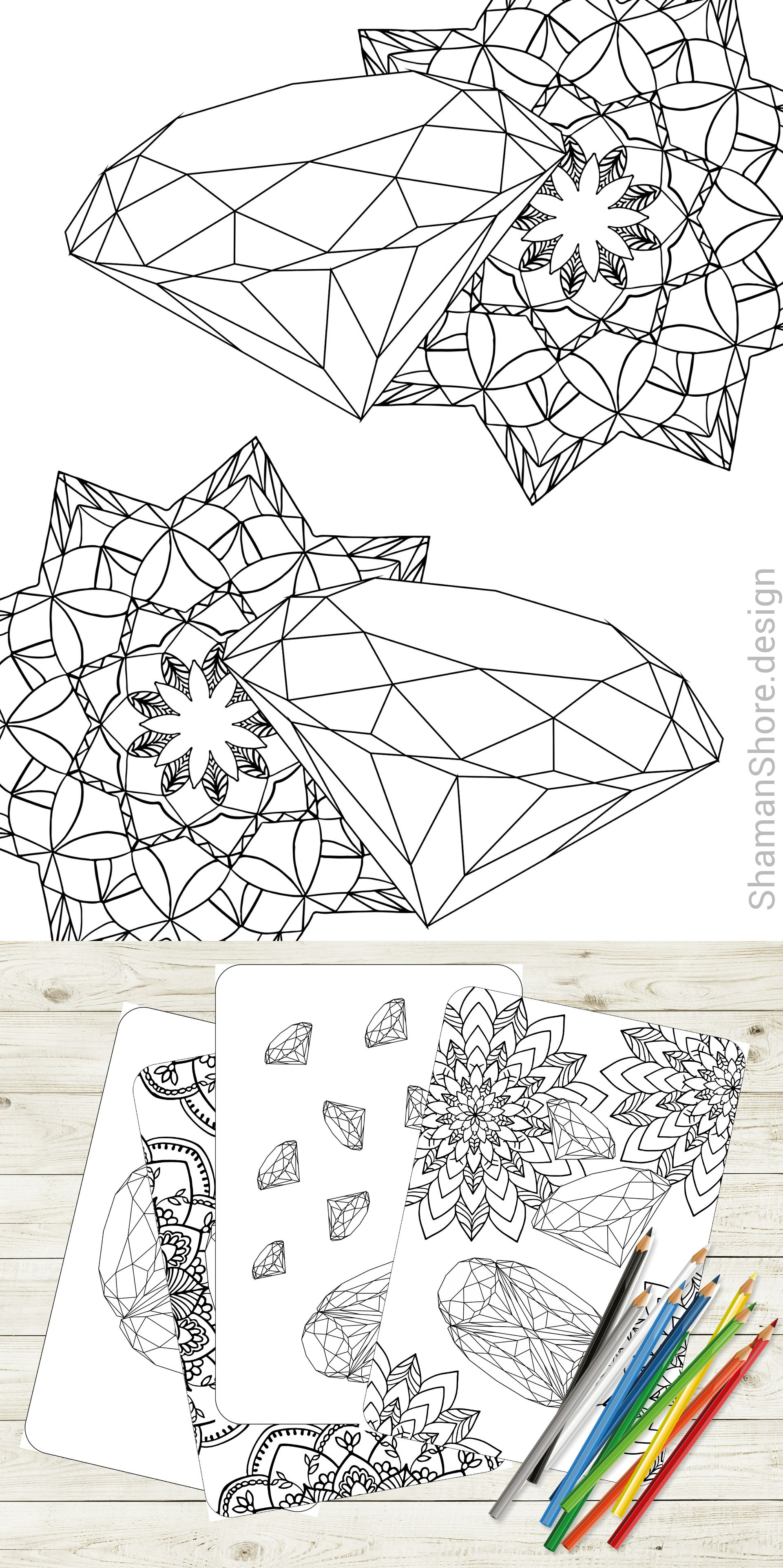 Gem Coloring Pages Crystal Adult Coloring Book Pdf Instant