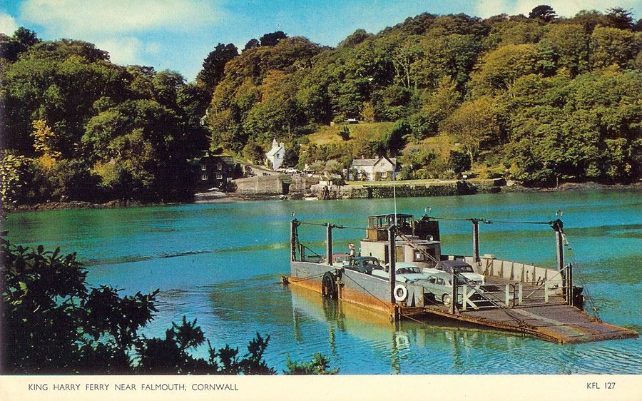 Postcard of the fourth King Harry Ferry crossing the River Fal