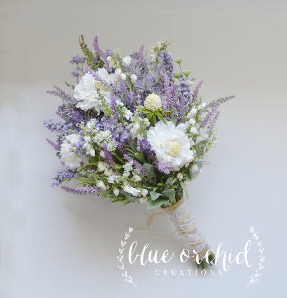 wildflower bridal bouquet rustic bouquet lavender wildflower bouquet shabby chic bouquet. Black Bedroom Furniture Sets. Home Design Ideas