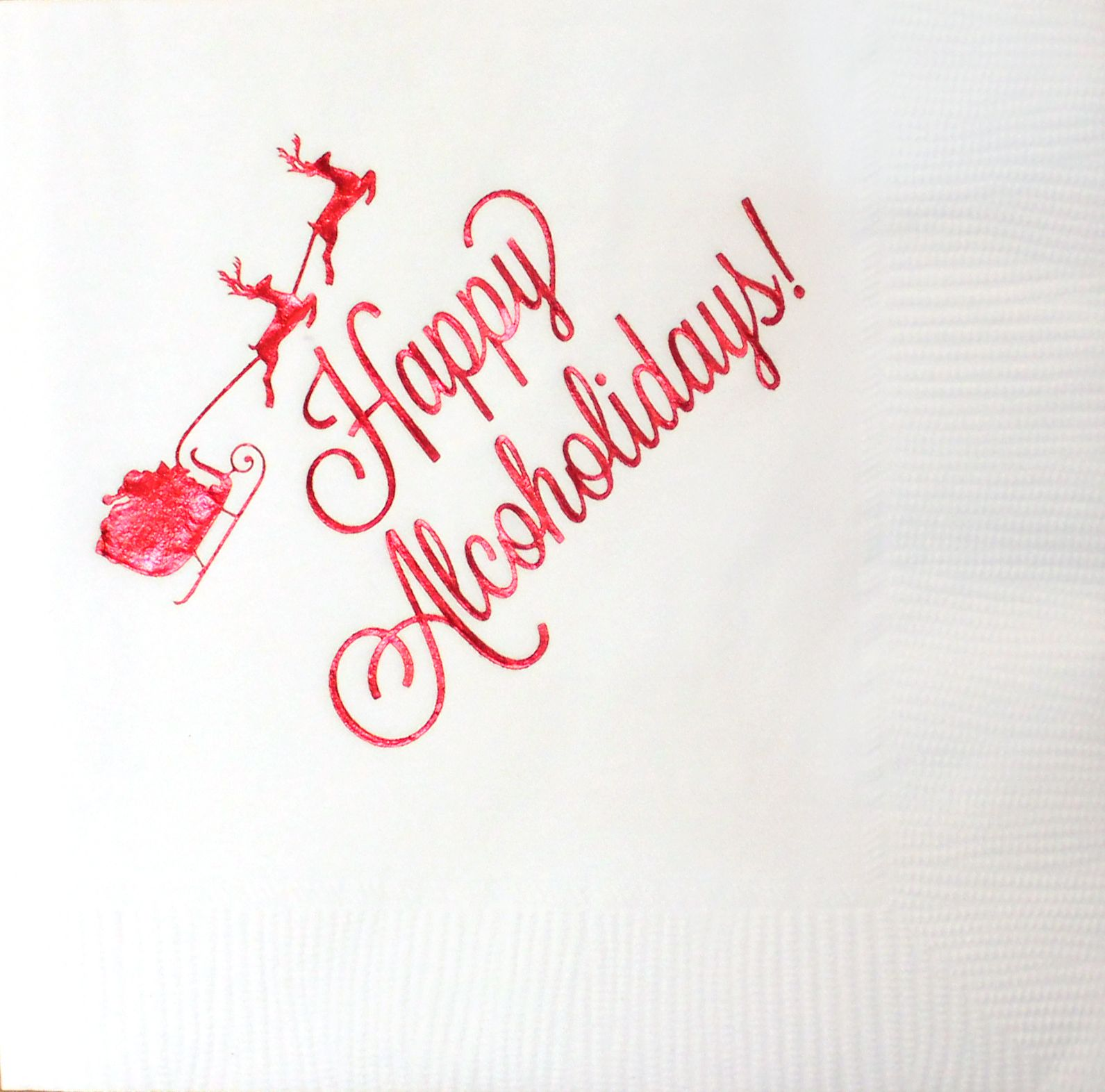 """""""Happy Alcoholidays!"""" Foil Stamped Napkins"""
