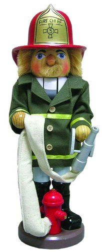 """14"""" Fire Chief with Hat and Firehose Decorative Wooden Christmas Nutcracker"""