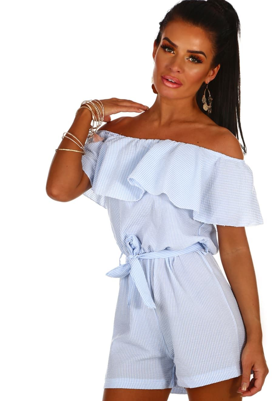 b4ff7d8bad11 Ally Blue and White Stripe Bardot Playsuit