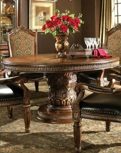 F7 Piece Round Ornate Carved Dining Table And Six Chair Set Ebay