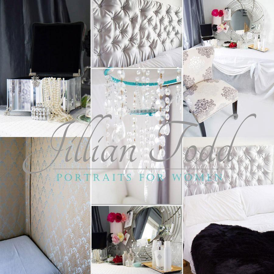 Made for studio: chandelier, headboard, vanity, hair flowers, dress, upholstered walls...