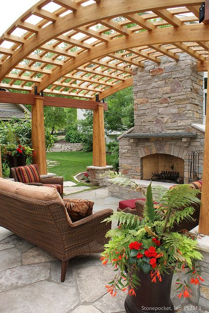 Backyard Fireplace and Pergola Maple Grove 76