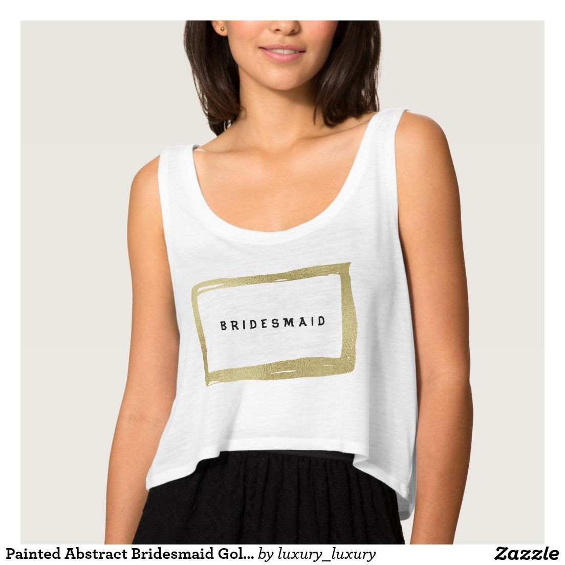 Painted Abstract Bridesmaid Golden Minimalism Flowy Crop Tank Top