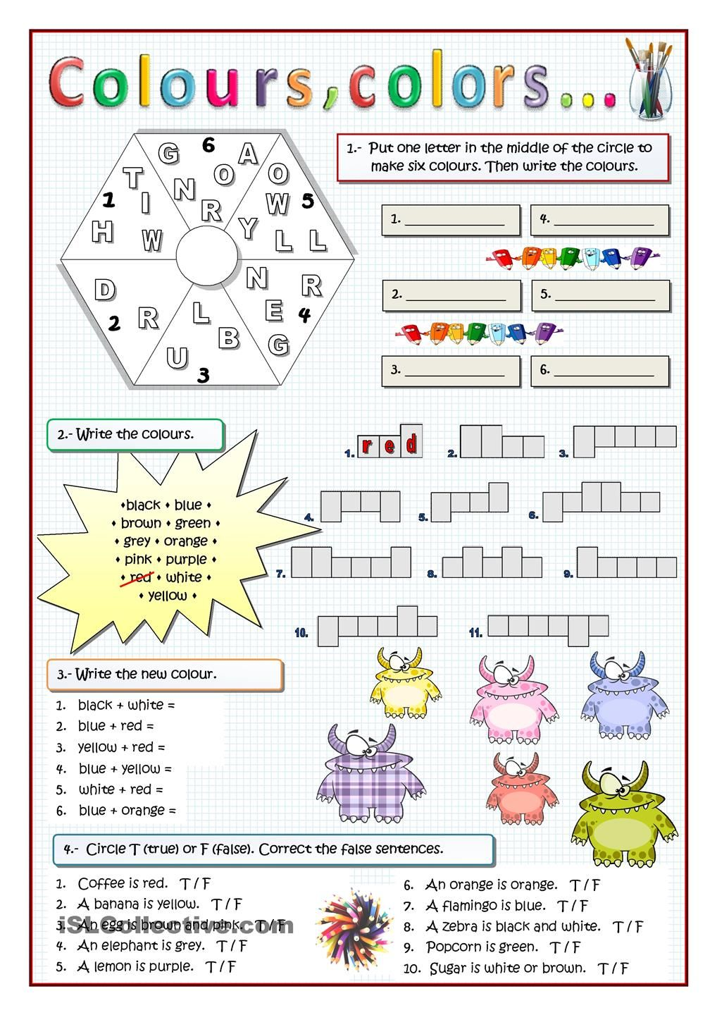 COLOURS: Varied exercises for weak learners. ESL worksheet of the ...